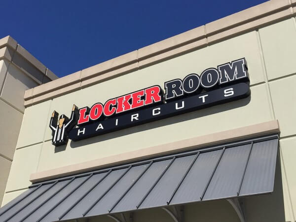 Locker Room Haircuts storefront signage